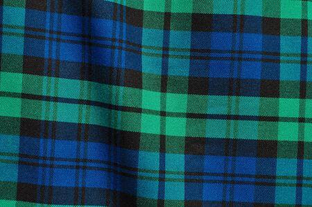 スコットランドの緑の青い格子縞の背景