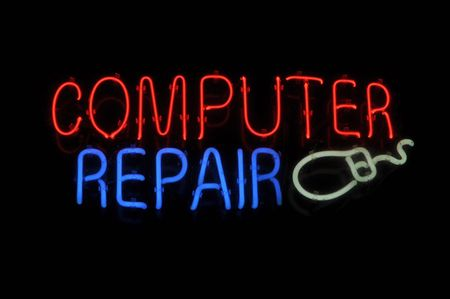 Computer Repair Neon Light Sign with Mouse Stock Photo