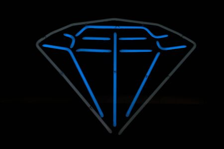 Diamond Neon Blue and Gray Glowing Sign photo