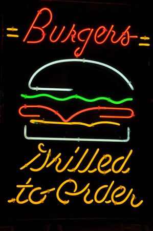 Burger Hamburger Grilled to Order Neon Light Sign Stock Photo
