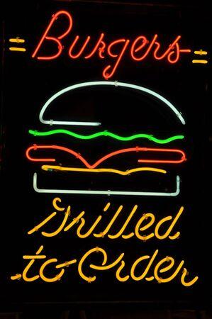 americana: Burger Hamburger Grilled to Order Neon Light Sign Stock Photo