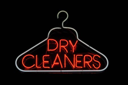 dries: Dry Cleaner Hanger Neon Sign Light Stock Photo