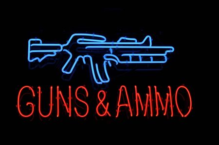 shop sign: Isolated Gun and Ammo Neon Light Sign Stock Photo