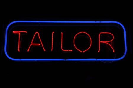 alteration shop: Tailor Electric Blue and Red Neon Sign