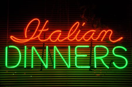 neon green: Italian Dinner Neon Window Sign