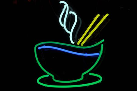 Rice or Pho Bowl Dinner Neon Sign photo