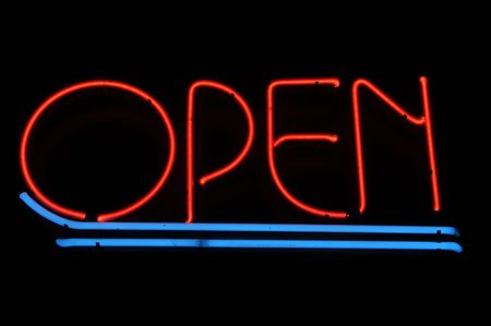 Open Red and Blue Neon Light Sign Stock Photo - 7103918
