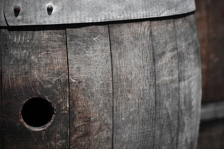 Wine Barrel Close Up with Hole