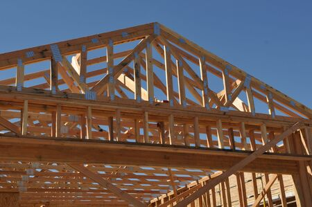 Roof Under Construction with exposed beams photo