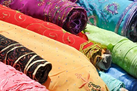 Indian Fabric used to make Sari Stock Photo