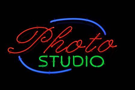 photo studio: Photo Studio Neon Light Sign Stock Photo