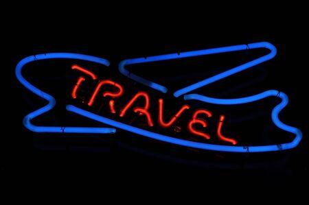 Travel Airplane Neon Light Sign Stock Photo - 7253810
