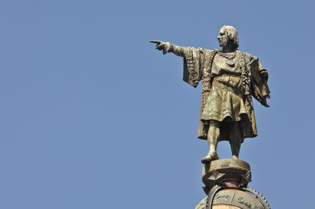 Christopher Columbus Statue in Barcelona Spain photo
