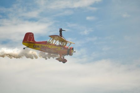 ag: Gene Soucy flies his Grumman Ag Cat at California Capital Airshow, September 13, 2009, Mather Airport, Sacramento, CA
