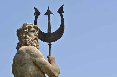 greek mythology: Poseidon with Triton from Atlantis in Barcelona Spain