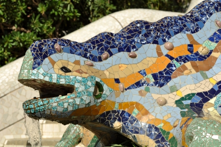 gaudi: BARCELONA - July 24: Park Guell, a municipal garden designed by Antoni Gaudi. Built in 1900 - 1914. part of the UNESCO World Heritage Site Works of Antoni Gaud� , July 24, 2010 in Barcelona Spain.