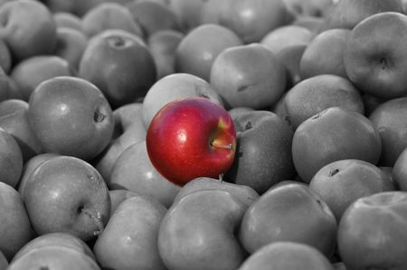 Stand out from the crowd Red Apple in the middle of Black and White Average Group Stock Photo - 7795219