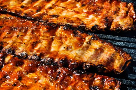 BBQ Pork Ribs on the Grill Stock Photo - 7944693