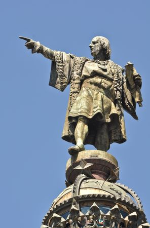 Christopher Columbus Day Statue in Barcelona Spain photo