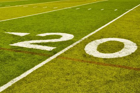 green lines: Twenty Yard 20 Line on American Football Field