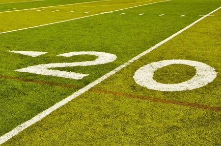 green lines: Twenty Yard 20 Line on American Football Field