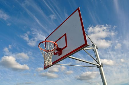 Basketball Hoop with Clouds photo