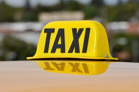 Taxi Cab Car Roof Sign Close Up photo