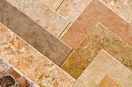 Brown Stone Tile Samples Stock Photo