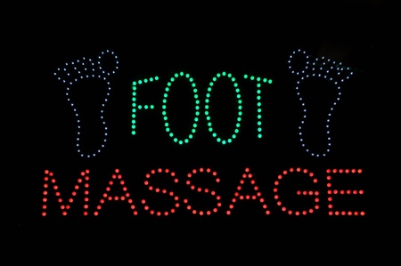 Foot Massage Neon Light Sign Background Stock Photo - 8267392