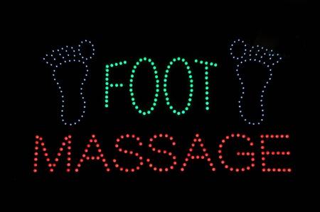 commercial medicine: Foot Massage Neon Light Sign Background