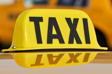 Taxi Sign Close Up Stock Photo