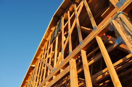 2x4: New Residential Homes Under Construction Stock Photo