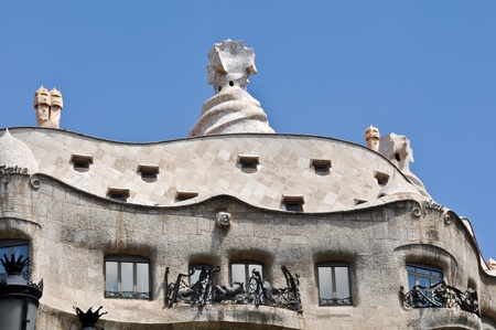 BARCELONA, SPAIN - 25 JULY, 2010: Exterior of La Pedrera on July 25, 2010, tourist destination built by catalan architect Antoni Gaudi.The building is part of the UNESCO World Heritage Site