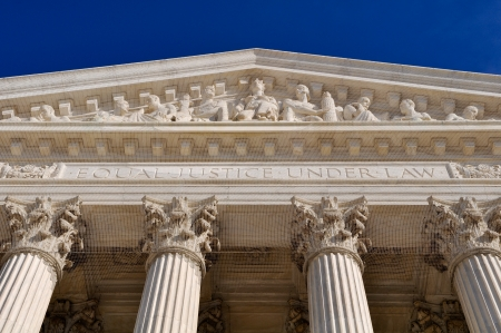 United States Supreme Court Building Pillars Stock Photo
