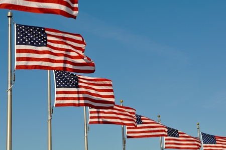 politics: American Flags blowing in the wind at Washington Monument Stock Photo