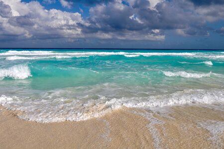 Beautiful Beach Ocean in Cancun, Mexico photo