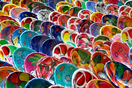 pottery: Colorful Mayan Bowls for Sale Stock Photo