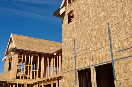 New Home Under Construction Good Blue Sky Stock Photo - 9178588