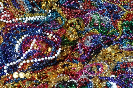 Mardi Gras Beads Background Stock Photo - 9943682