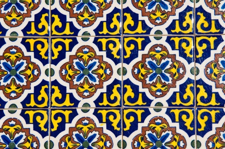 Blue and Yellow Floral Tile photo