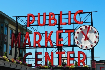 Market Center veřejnosti v Seattlu ve Washingtonu Redakční