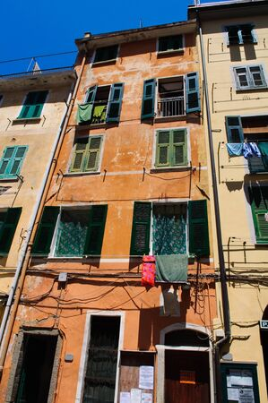 spezia: Colorful Building in Cinque Terre Italy Editorial
