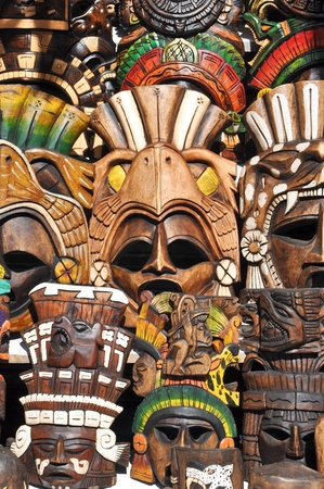 maya religion: Mayan Wooden Masks for Sale Stock Photo