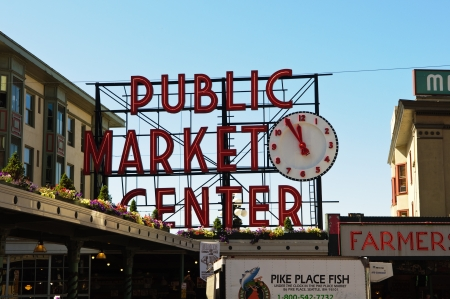 pike place market sign: SEATTLE - AUGUST 19: The Pike Place Public Market Historic District on August 19, 2011 in Seattle, USA. Pike Place Market is one of the most famous markets in the United States serving 10 million people annually.