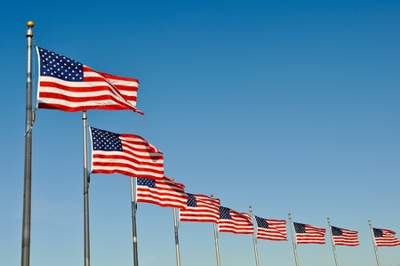 American Flags at Washington Monument Stockfoto