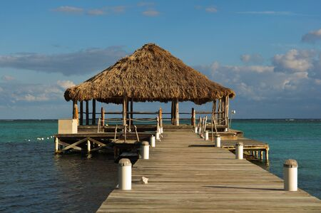 gazebo: Beach Deck with Palapa floating in the water
