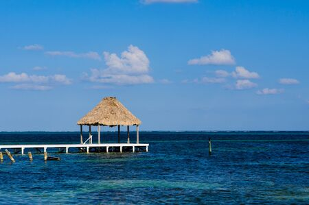 belize: Palapa Hut and Dock on the Ocean