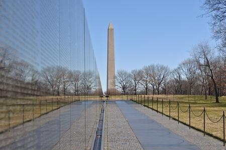 Vietnam War Memorial with Washington Monument in Background