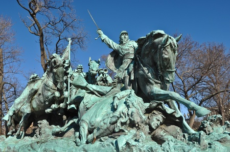 cavalry: Civil War Statue in Washington DC Stock Photo