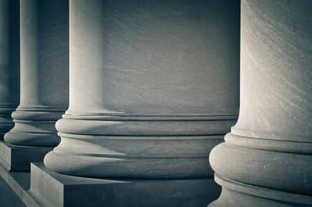 Pillars of Law, Education and Government Stockfoto
